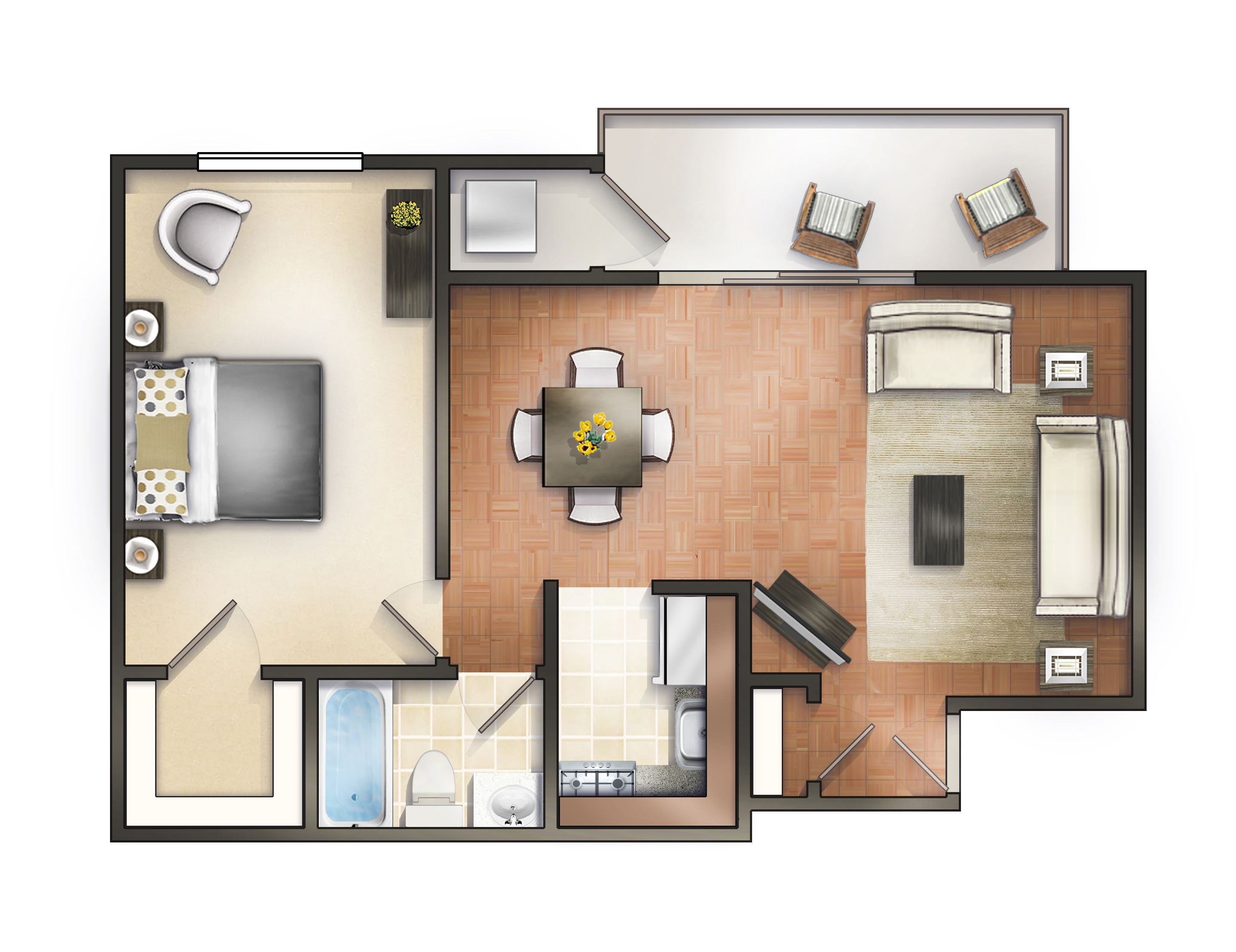 1 bedroom apartment home - One Bedroom Apartment Floor Plans